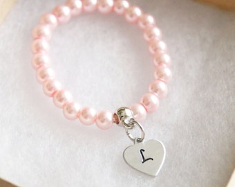 Flower Girl Bracelet, Personalized Initial Pink Pearl Bracelet, Children's Jewelry, Girls Gift, Stretch Bracelet, Hand Stamped Heart Initial