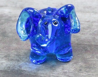 Transparent Sapphire Blue Elephant Lampwork Glass Handmade SRA NLC Beads leteam
