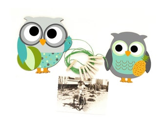 Owl Art Display Clips- Owl Kids Decor-  displaying children art-boys room decor