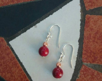 Rich red, copper and sterling silver earrings