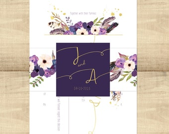Gold Floral Boho wedding invitation suite, eggplant floral; SAMPLE ONLY