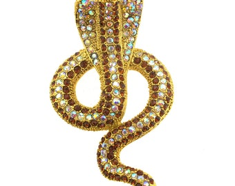 Golden Cobra/Naja Snake Brooch Pin 1004691