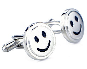 Happy Smiley Face Silver Emotion Cufflinks