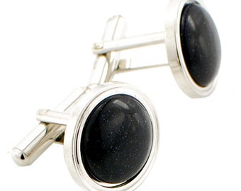 Black Optic Cufflinks Round Cuff Links 1200213