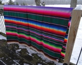 Vintage Mexican Hippie Blanket or Sherepe  Multi Colors Bright