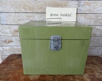 Vintage Avocado Green Industrial Retro  Metal File Box