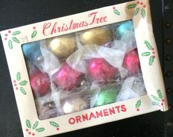 Vintage box of Mercury glass ornaments