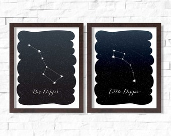 Big Dipper Little Dipper Ursa Major Ursa Minor Wall Art Printable 8x10 - Star Constellation Plough Great Wain Polaris Night Sky Astronomy