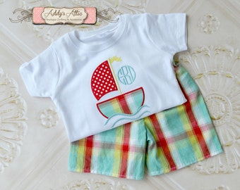 Monogram Sailboat Outfit, Boys Summer Outfit, Boys Monogram Outfit, Plaid Shorts, Applique Outfit, Toddler Boys Outfit, Sailboat Shirt