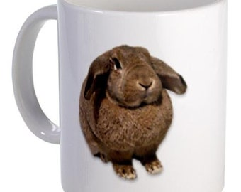 Fat BUNNY RABBIT Easter Animals 11oz Ceramic Coffee Mug
