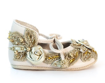 Gold Baby Shoes Baby Shoes Girl Baby Shower Gift Baby Shower Newborn Shoes Baby Moccasins Baby Slippers Christening Shoes by Vibys