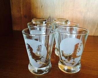 Juice Glasses,  Clear Glass Frosted Oval With Rooster Hens, Farm House, Set Of 8