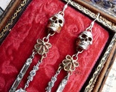 RESERVED Listing/SOLD Memento Mori Skull Chandelier Earrings, Victorian Talismans for the Alchemist, by RusticGypsyCreations