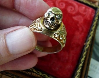 Antique Memento Mori Skull Ring, Doctors Skull Ring, A Marian Talisman, offered by RusticGypsyCreations