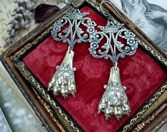 Antique French Lion Paw Talon Claw Earrings, Talismans for the Elemental Woman, by RusticGypsyCreations
