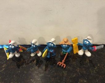 Set of 5 Vintage Smurfs