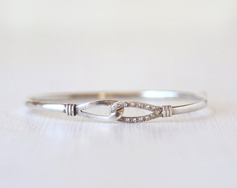 Vintage Sterling Silver Glamorous Crystal Infinity Bracelet  - Vintage Chic Simple Everyday Jewelry