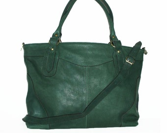 "Nora XL. in Green, Leather Cross-body Purse, Leather Tote bag// More colors // fits a 17"" laptop"