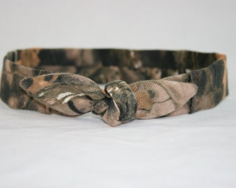 Camo Child Headband with Tie Hairbow Hunting Camouflage