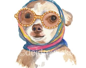 Dog Watercolor Painting PRINT - Chihuahua Watercolour, Glamorous, 11x14 Art Print