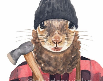 Squirrel Watercolor Painting PRINT - 11x14 Lumberjack Squirrel, Canada Painting,