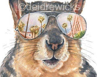 Squirrel Watercolor - 5x7 Illustration PRINT, Miami Vacation, Squirrel Painting, Squirrel in Glasses