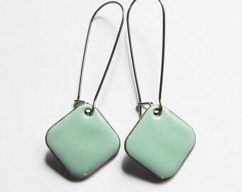 Surgical steel earrings Robins egg blue enamel dangles Pale aqua geometric drops Simple minimalist jewelry  Kidney wires