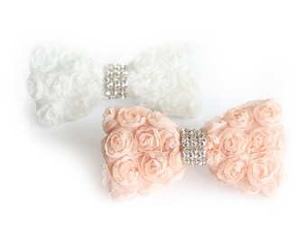 Wedding Chiffon Flower bow for ring bearer, Female dog Rhinestone Bowtie, Dog wedding, Rhinestone Flower Metal Buckle upgrade available
