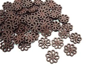 20 x Sunflower Dark Brown Wooden Buttons - Flower Shaped Buttons - 20mm - (4)