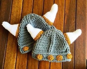 Viking baby hat, baby Viking helmet, crochet viking hat, crochet baby hat, newborn Viking hat