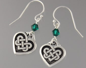 Quaternary Knot earrings - Celtic knot charms on sterling silver earwires w/ Swarovski emerald green crystals - free shipping USA