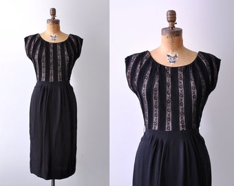 50's tan & black dress. 1950 lace dress. striped. silhouette dress. m. 1950's rayon dress. l.