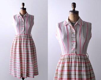 50's pink striped dress. 1950's white cotton dress. s. m. tan. 50 shirtwaist dress. full.