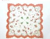 Nylon Christmas Handkerchief - Snowman, Trees, stars, Wreaths Stockings & Toys Hankie w Red, Green, White- 1950's Hanky