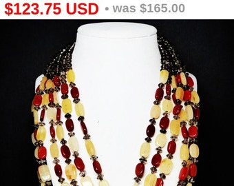 Multi Strand Bib Necklace - Citrine & Red Stone Gemstones and Sterling Silver - 1980's - 1990's Runway Statement Boutique Jewelry