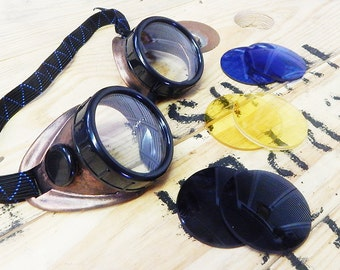 BURNING MAN COMBO-Copper and Black Steampunk Do-It-Yourself Motorcycle Riders Welders Goggles w/Day and Night Lenses- Playa Ready