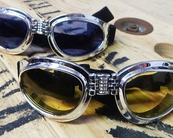 BURNING MAN SPECIAL - 2 Pair of Chrome-Look Comfy Cushioned 'Folding' Playa Safe Riding Goggles- 1 Day Pair, 1 Night Pair