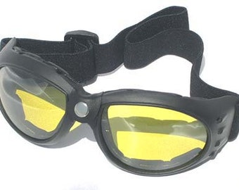 BURNING MAN SPECIAL - 'Night Time' Yellow Lens Comfy Cushioned Cyber Rave Playa Safe Riding Goggles