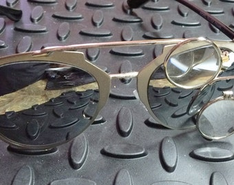 STEAMPUNK GOGGLES SUNGLASSES - Silver Polished Metal Frame Sunglasses w/Mirrored Lenses and Removable Clip-on Jewelers Magnifying Eye Loops