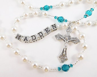 December Birthstone Blue Zircon Swarovski Crystal Personalized Rosary - Baptism, First Communion, Confirmation Gift
