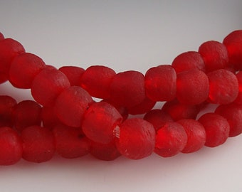 Red Beads, African Glass Beads, Recycled Glass Beads,  With 2mm Hole, Textured Beads, Irregular Shape, 6mm to 8mm - 10 Beads