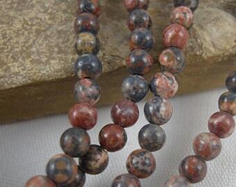 4mm Jasper Bead, Leopardskin Jasper, Multi Color Bead, Natural Stone Bead, Small Bead, 16 Inch Strand