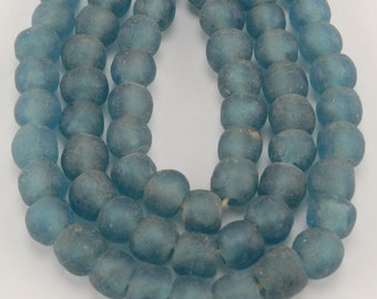 African Recycled Bottle Glass Beads - Baby Blue