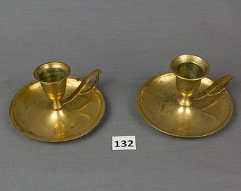 Set of 2 Brass Bedtime Candle Holders, Vintage Colonial, Candlestick, Candle stick, Night time candle sticks, Thumb holder candle holder