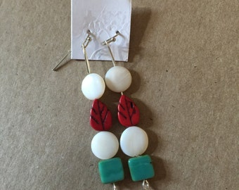 Boho Whimsical Earrings in White, Red, and Teal