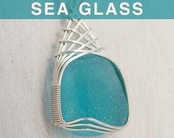 Huge Aqua Sea Glass Pendant