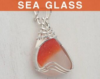 Orange Multi English Sea Glass Pendant