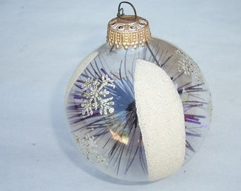 Vintage Beautiful West Germany Clear Glass Stenciled Christmas Ornament