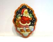 Vintage Russian Painted Christmas Brooch Signed Santa Enamel Holiday Gift for Hostess Gift for Her