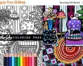 25% Off - Folk art cat coloring, coloring book, adult coloring book, coloring pages, adult coloring pages, coloring book for adults